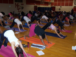 Students doing yoga